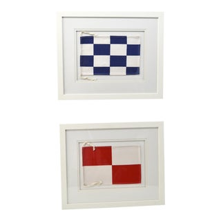 "Framed Signal Flags Letters ""N"" & ""U"" - a Pair For Sale"