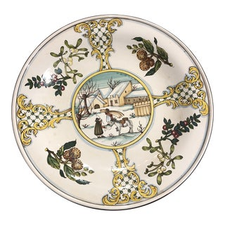 Italian Hand Painted Wall Plate For Sale