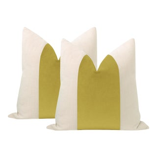 "22"" Chartreuse Velvet Panel + Linen Pillows - a Pair For Sale"