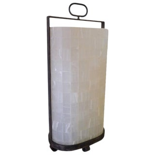 Quartz and Iron Lantern Style Tall Table Lamp For Sale