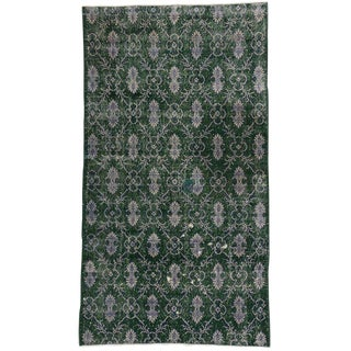 Vintage Mid-Century Zeki Muren Dark Green Distressed Rug - 4′1″ × 7′4″ For Sale