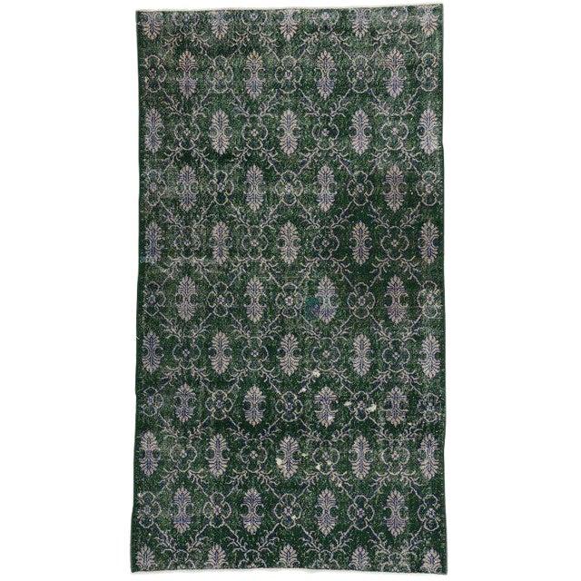Vintage Mid-Century Zeki Muren Dark Green Distressed Rug - 4′1″ × 7′4″ For Sale