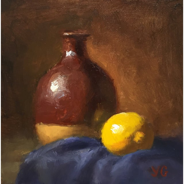 Alla-Prima Oil Still Life with Vase and Lemon - Image 1 of 2