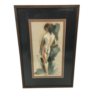 1970s Female Nude Study Watercolor Painting For Sale