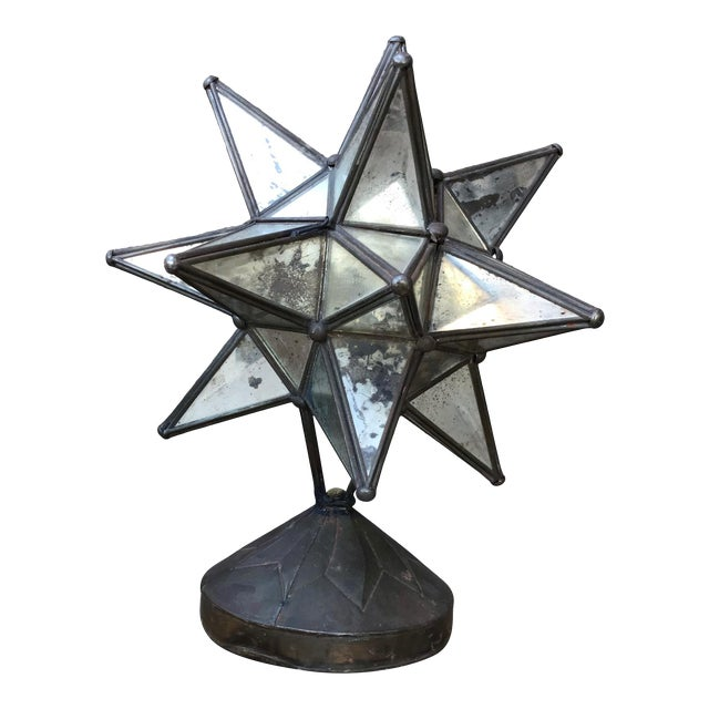 1960s Vintage Art Deco Glass Star Table Lamp on Patinated Brass Base, Mexico For Sale