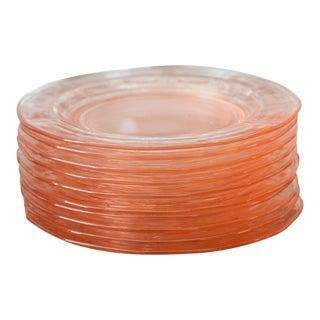 Pink Depression Glass Dessert Plates, Fostoria Fairfax - Set of 10 For Sale