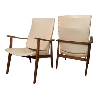 Sculpted Mid-Century Danish Arm Chairs - a Pair