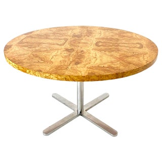 Round Burl Wood Dining Table With Star Pedestal Base in the Style of Pace For Sale