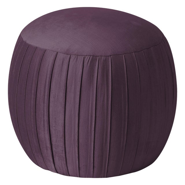 Round Shirred Ottoman in Majestic Plum For Sale