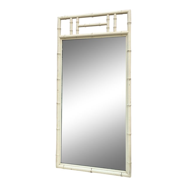 Cream Color Wood Faux Bamboo Mirror For Sale
