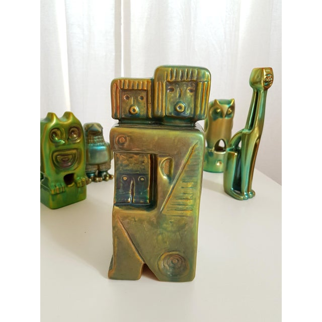 Set of Six Ceramic Eosin Figures by Zsolnay, With 1960s Stamps For Sale - Image 9 of 12