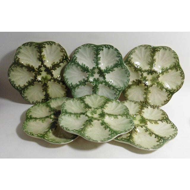 Art Nouveau Late 19th Century Vintage Keller Et Guerin Saint Clement Majolica Seaweeds Oyster Plate For Sale - Image 3 of 7