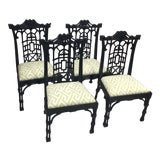 Image of 20th Century Chinese Chippendale Black Lacquered Dining Chairs - Set of 4