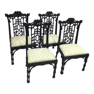 20th Century Chinese Chippendale Black Lacquered Dining Chairs - Set of 4