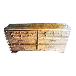 Vintage 6 Drawer Faux Bamboo Large Palm Beach Regency Dresser For Sale