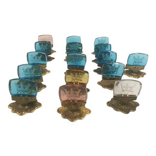 Czech Art Glass Place Card Holders Set of 16 For Sale