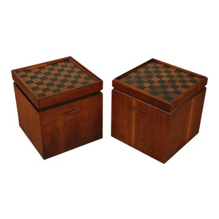 Lane Mid Century Modern Walnut Cube Ottomans/Taboret Tables Flip Top Game Board Top - a Pair For Sale