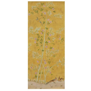 Canton Garden Hand Painted Chinoiserie Panel For Sale