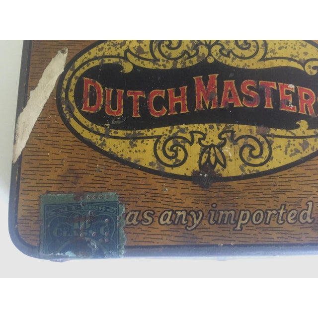 """Lithograph Vintage Early 1900's """"Dutch Masters"""" Lithograph Cigar Tin Box For Sale - Image 7 of 11"""