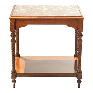 19th C. French Marble Top Walnut Table For Sale