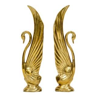 Rosenthal Netter Tall Brass Swans, a Pair For Sale