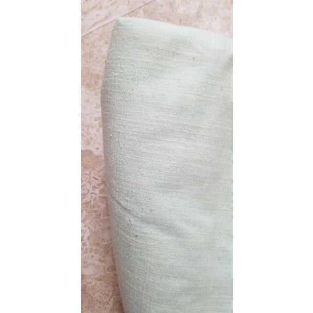 Contemporary Pale Green Linen Vintage Fabric For Sale - Image 3 of 9