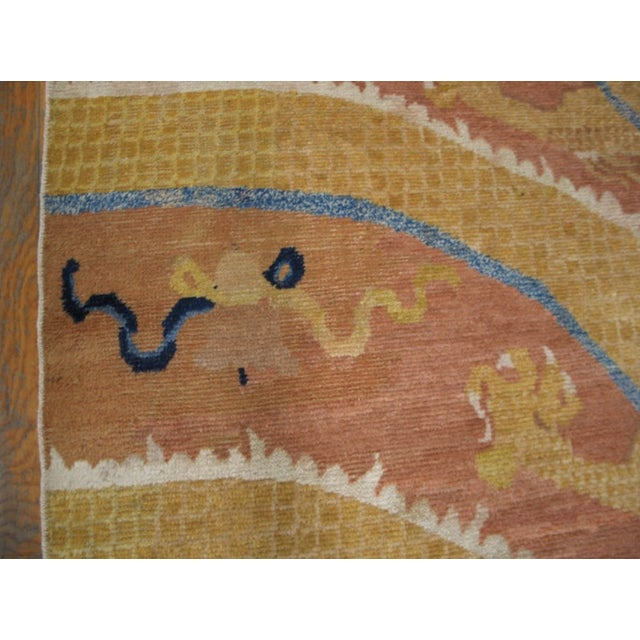 Orange Mid 18th Century Antique Ningxia Pillar Rug For Sale - Image 8 of 9