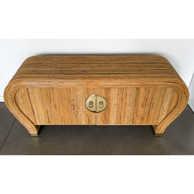 1980s Gabriella Crespi Style Bamboo and Brass Waterfall Sideboard Cabinet For Sale - Image 5 of 13