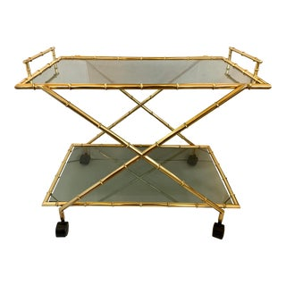 Mid Century Gilt Metal Faux Bamboo Bar Cart For Sale