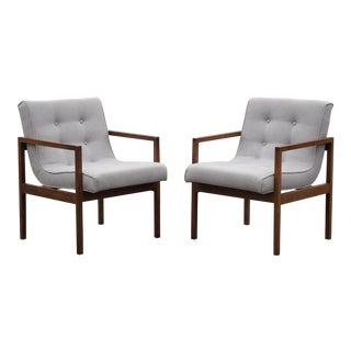 Mid-Century Walnut Swoop Seat Arm Chairs - a Pair For Sale