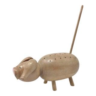 1960s Vintage Pig Bbq Wood Toothpick Holder For Sale