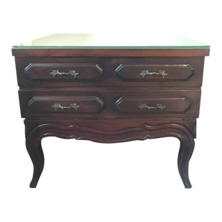 Vintage Mahogany & Glass Top Nightstand
