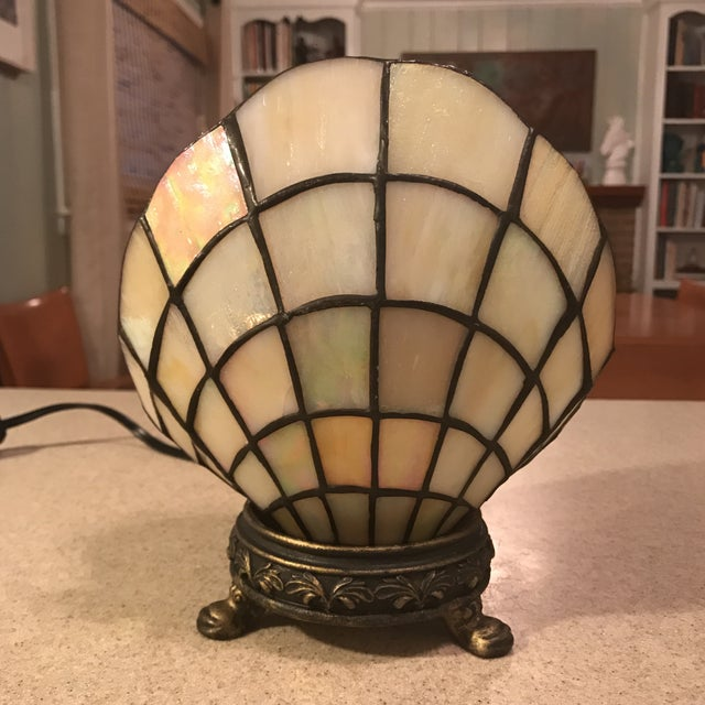Vintage Stained Glass Clam Shell Lamp - Image 2 of 11