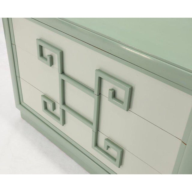 Wood Kittinger Mandarin Style Bachelor Chest Dresser Blue and White Lacquer For Sale - Image 7 of 12