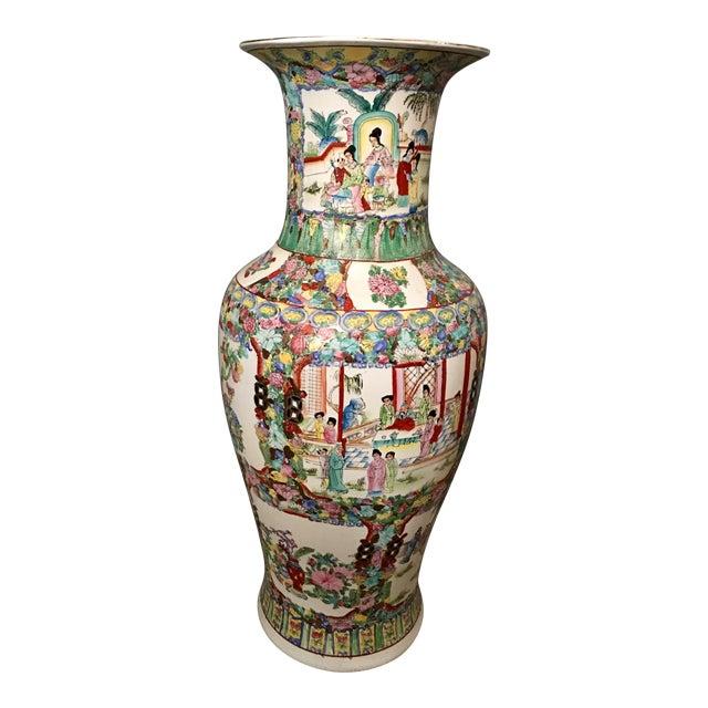 Famille Rose Large Porcelain Vase For Sale