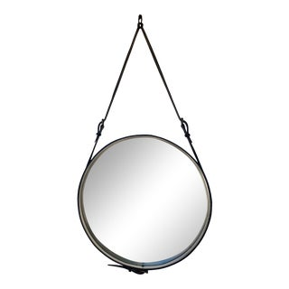 Jacques Adnet Round Leather Mirror For Sale