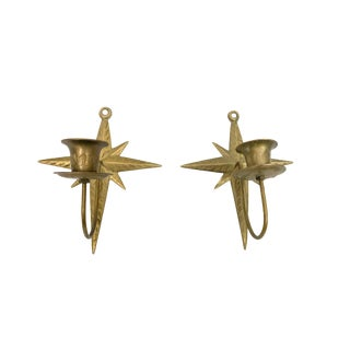 1950s Etched Brass Star Wall Candle Holders - a Pair For Sale