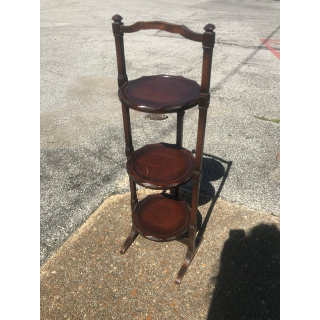 Mid 20th Century Vintage Mahogany Folding Dessert Display Stand For Sale - Image 5 of 5