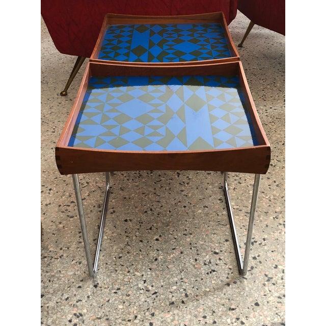 1960s Vintage Hermann Bongard for Plus-Linje Norwegian Enamel Tray Tables - A Pair For Sale - Image 11 of 12