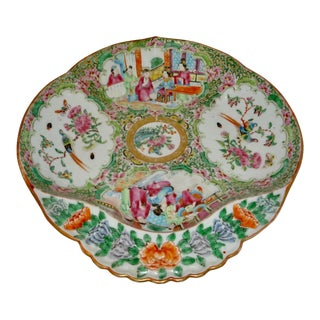 19th Century Chinese Rose Medallion Porcelain Dish For Sale