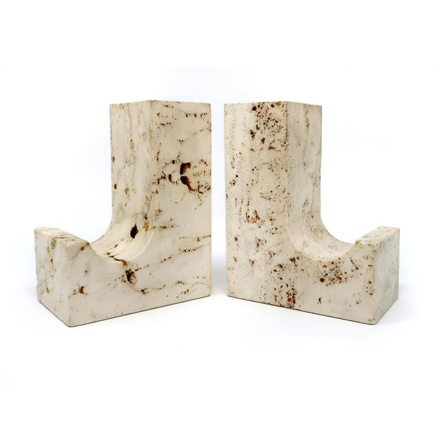 1960s Vintage Travertine Bookends - a Pair For Sale - Image 5 of 5