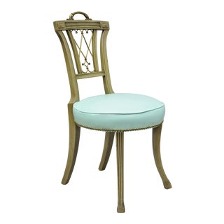 Carved Mahogany French Regency Style Chair With Brass Handle & Aqua Blue Vinyl For Sale