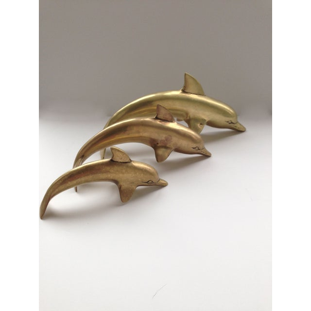 Family of Brass Dolphins - Set of 3 - Image 4 of 5