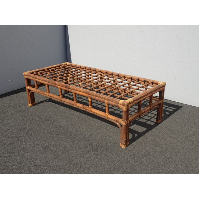Rustic Vintage Mid Century Brown Bamboo Rattan Rustic Coffee Table For Sale - Image 3 of 11