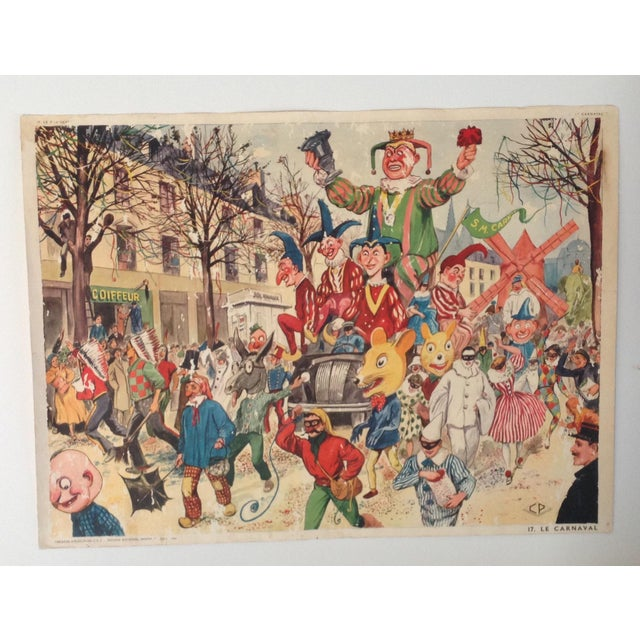 1940s Vintage French School Poster of Carnaval. Chromolithograph For Sale - Image 5 of 6