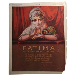 1914 Fatima Cigarette Ad Life Magazine For Sale