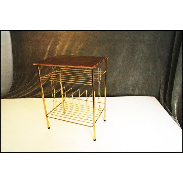 Mid-Century Modern Gold Record Rack - Image 5 of 11