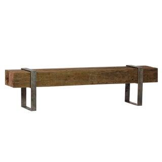 Log Bench W/Iron Strap For Sale