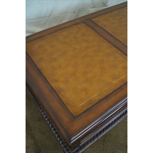 Ethan Allen Leather Top Morley Coffee Table - Image 4 of 10