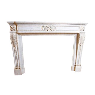 19th Century Louis XVI Style Carrara Marble Fireplace Surround / Mantel For Sale